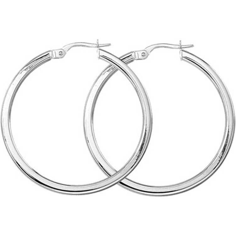 Roberto Coin Perfect Gold Hoop Earrings In 18k White 2eghp0030 Lux Bond Green