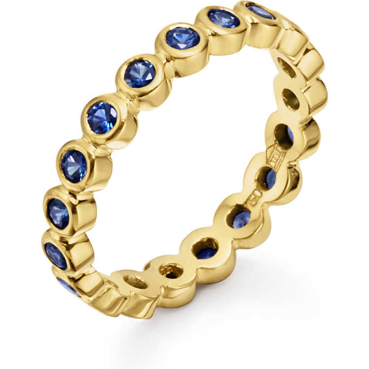 Temple St  Clair 18k Yellow Gold Eternity Band with Blue