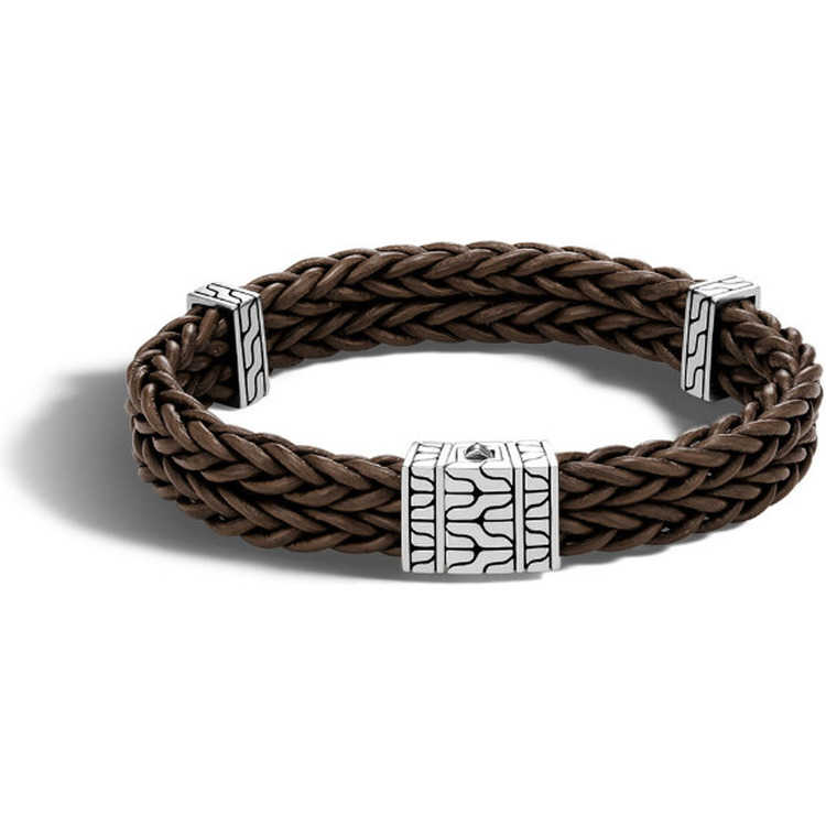 John Hardy Men S Bracelet In Sterling Silver And Leather 2ygbr0232 Lux Bond Green